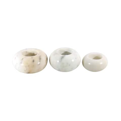 White Marble Stone Tealight Candles 3 Pcs. Set