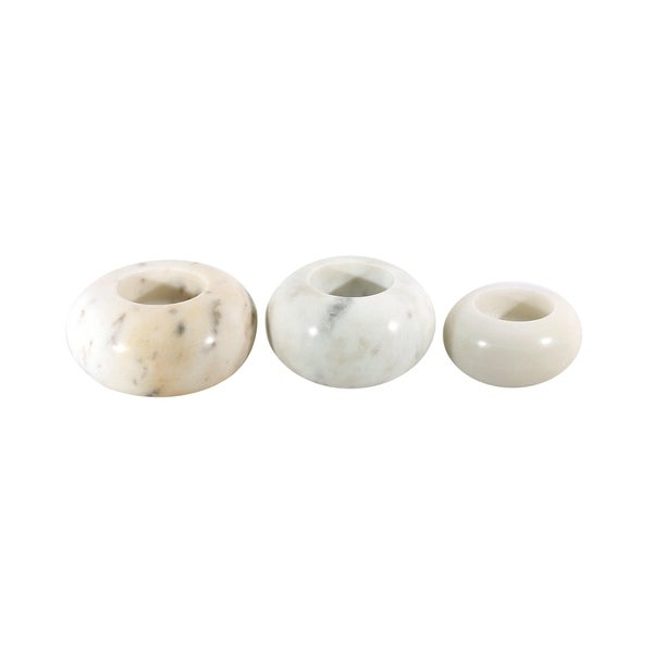 White Marble Stone Tealight Candles 3 Pcs. Set