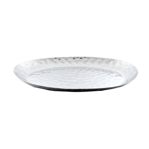 """Full Polished Stainless Steel 18""""X11"""" Oval Service Tray."""