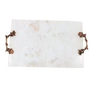 White Marble Stone with Metal Handles Service Tray.