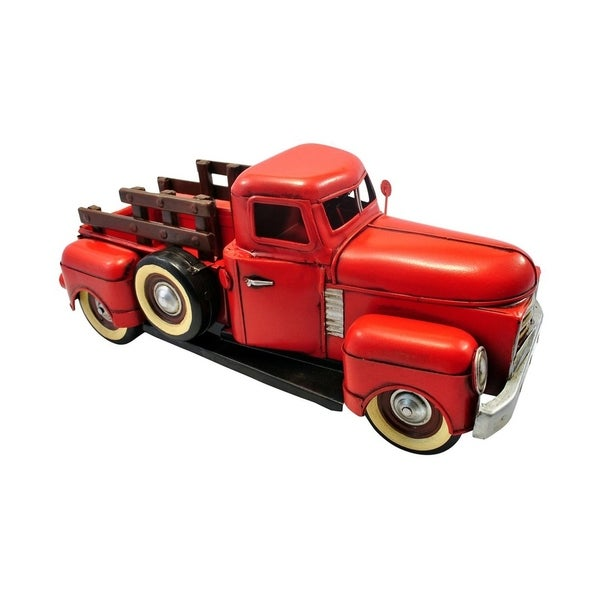 Cheung's 1950's Style Handcrafted Distressed Metal Red Truck Figurine
