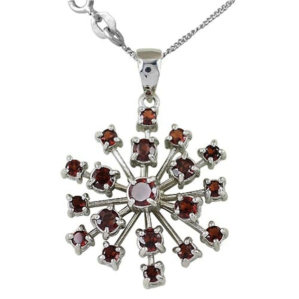 18 Inch Chain 0.65 Ct Round Red Garnet 925 Sterling Silver Key Pendant