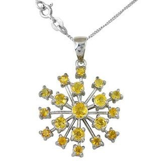 Orchid Jewelry Sterling Silver 3 Ct. Citrine Flower Pendant Necklace