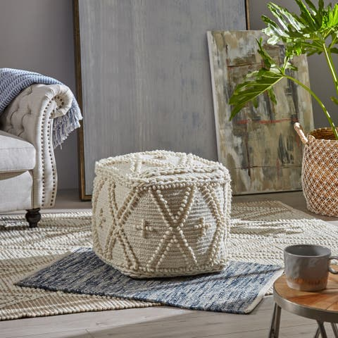 Fossa Handcrafted Boho Cube Pouf by Christopher Knight Home