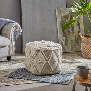 Fossa Cube Wool and Cotton Pouf by Christopher Knight Home