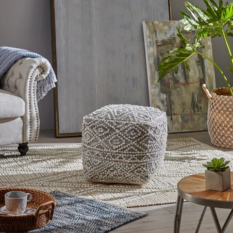 Zivon Cube Wool and Viscose Pouf by Christopher Knight Home