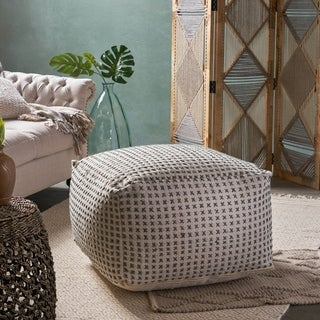 Flanner Contemporary Large Rectangle Casual Yarn Pouf by Christopher Knight Home