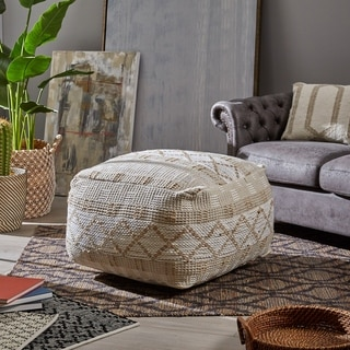 Nessan Large Square Casual Hemp Pouf by Christopher Knight Home