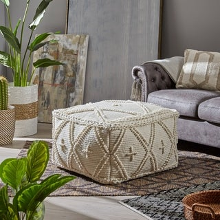 Fossa Large Rectangle Casual Wool and Cotton Pouf by Christopher Knight Home