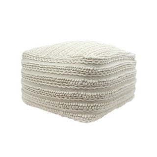 Brady Contemporary Large Square Casual Wool and Cotton Pouf by Christopher Knight Home