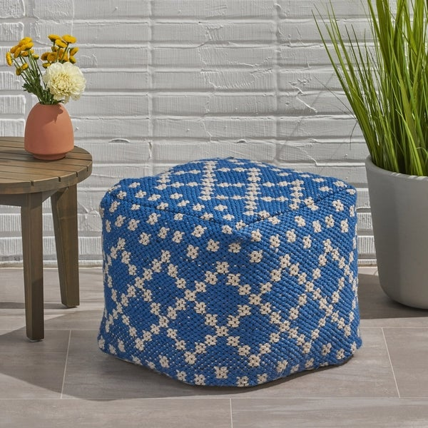 Corinthian Outdoor Cube Yarn Pouf by Christopher Knight Home