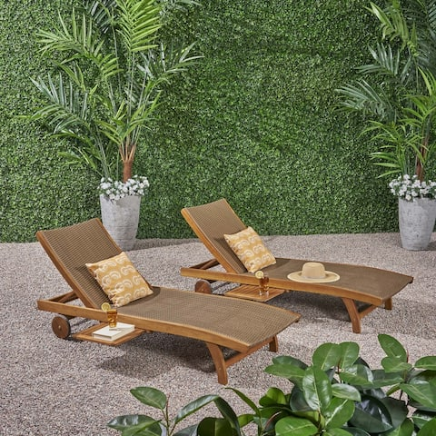 Banzai Outdoor Wicker and Wood Chaise Lounge with Pull-Out TraySet of 2) by Christopher Knight Home