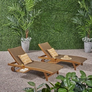 Banzai Outdoor Wicker and Wood Chaise Lounge with Pull-Out Tray(Set of 2) by Christopher Knight Home