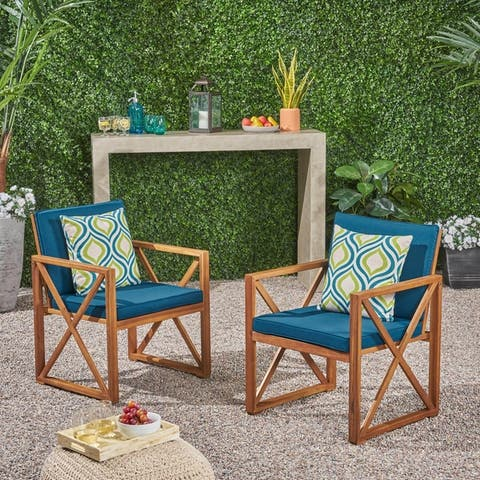 Andora Outdoor Acacia Wood Club ChairsSet of 2by Christopher Knight Home