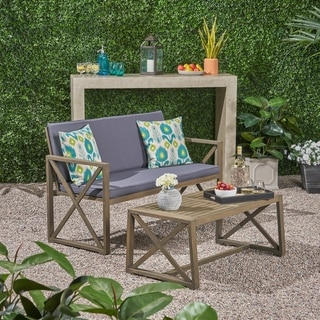 Link to Andora Outdoor Acacia Wood Loveseat with Coffee Table Set with Cushions by Christopher Knight Home Similar Items in Outdoor Sofas, Chairs & Sectionals