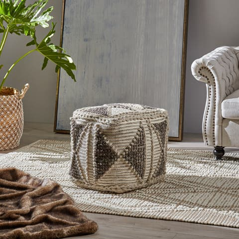 Tamsin Cube Wool and Cotton Pouf by Christopher Knight Home