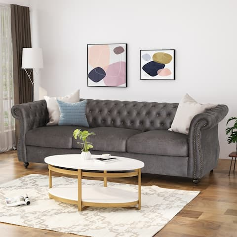 Somerville Chesterfield Tufted Microfiber Sofa with Scroll Arms by Christopher Knight Home