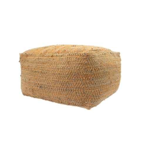 Abella Large Rectangle Casual Hemp and Cotton Pouf by Christopher Knight Home