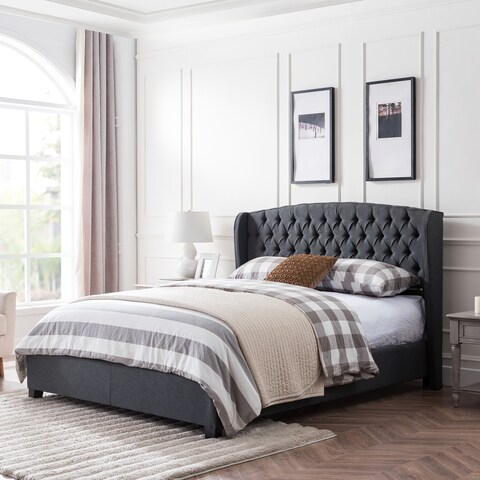 Virago Contemporary Fully-Upholstered Low-Profile King-Size Platform Bed Frame by Christopher Knight Home