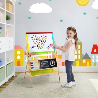 Kinbor Kids Wooden Double Sided Standing Art Easel Drawing Chalkboard w/ Paper Roll & Storage