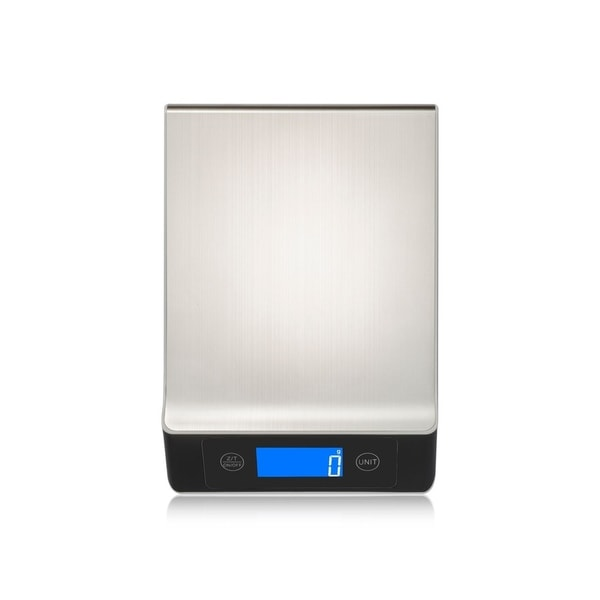 INSTEN Ultra Slim Portable Stainless Steel Kitchen Scale with LCD Display (1g-10000g/0.04 oz - 22 lb/10 kg)