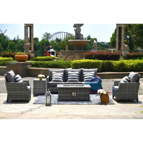 Maxwell 5-Piece Outdoor Wicker Patio Sofa Set with Gas Fire Pit Table, Burner System and Cushions by Direct Wicker