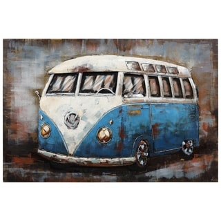 """Empire Art""""Blue bus""""Primo Mixed Media Hand Painted Iron Wall Sculpture"""