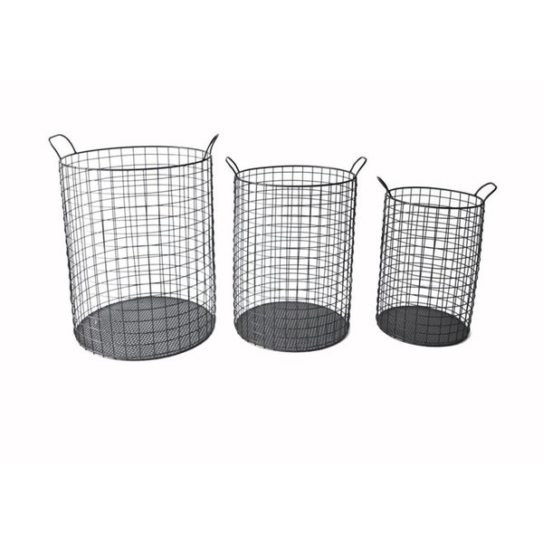 Cheung's Tall Cylindrical Metal Wire Storage Container with Side Handle, Black - Set of 3