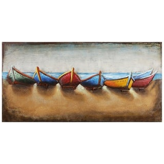 """Empire Art""""Boats""""Primo Mixed Media Hand Painted Iron Wall Sculpture"""