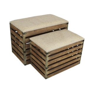 Cheung's Rectangular Handmade Wood Slat Storage Crate with Metal Accent and Cushioned Lid - Set of 2
