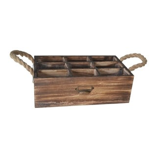 Cheung's 9 Slot Distressed Wood Compartment Storage Organizer with Side Rope Handles - Brown