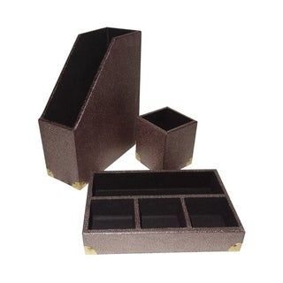 Cheung's 3 Piece Gold Shagreen Decorative Desk Organizer