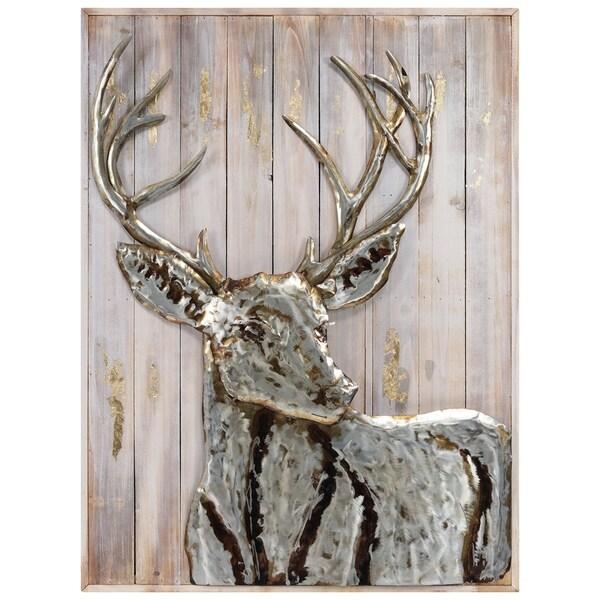 "Empire Art""Deer 1""Metallic Handed Painted Rugged Wooden Blocks Wall Sculpture"
