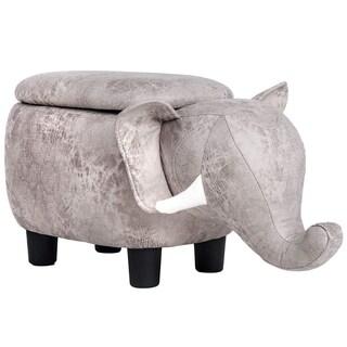 Merax Upholstered Elephant Animal Storage Ottoman Footrest Stool