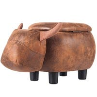 Merax Upholstered Ride-on Buffalo Storage Animal Ottoman Footrest