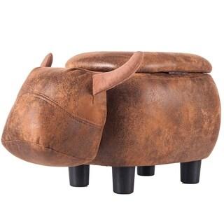 Merax Upholstered Buffalo Animal Storage Ottoman Footrest Stool