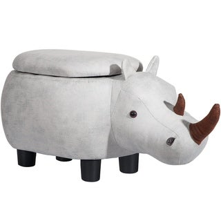 Merax Upholstered Grey Hippo Animal Storage Ottoman Footrest Stool