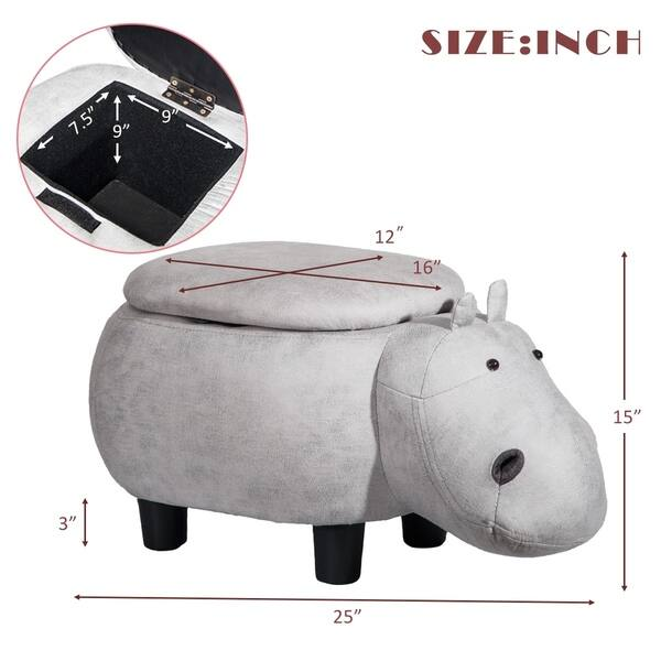 Wondrous Shop Merax Upholstered Ride On Storage Grey Hippo Animal Camellatalisay Diy Chair Ideas Camellatalisaycom