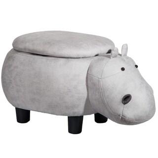 Merax Upholstered Grey Hippo Animal Storage Ottoman Footrest Stool
