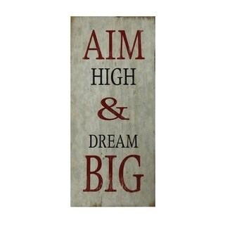 "Cheung's Hand Crafted Distressed ""Aim High And Dream Big"" Wood Wall Sign Decor - Black/Red/White"