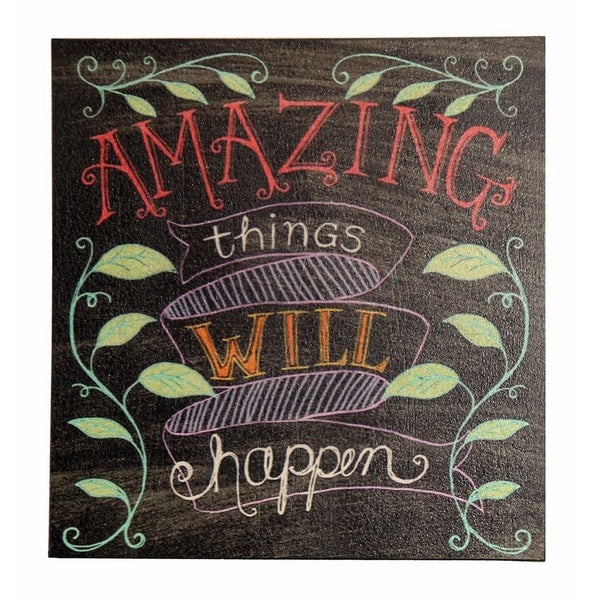 "Cheung's Handcrafted Distressed Wood Wall Sign Art Inscribed ""Amazing Things Will Happen"" - multi"