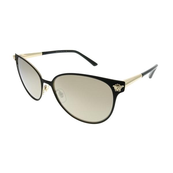 7e7af63726d8 Versace Round VE 2168 13665A Women Black Pale Gold Frame Dark Gold Mirror  Lens Sunglasses