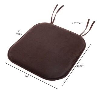 "Memory Foam Chair Cushion 16""x 16.25"" Plush by Lavish Home"