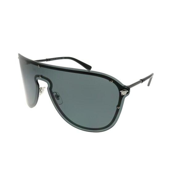 3e1840af0fc Versace Shield VE 2180 100087 Unisex Silver Frame Grey Lens Sunglasses