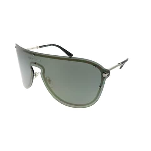 Versace Shield VE 2180 10005A Unisex Silver Frame Gold Mirror Lens Sunglasses