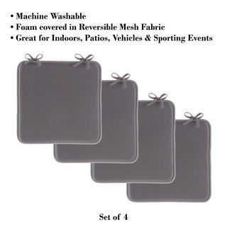 """Set of 4 Square Foam 16""""x 16"""" Chair Pads with Ties by Lavish Home"""