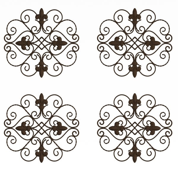 Medallion Metal Wall Art Set-10 Inch Rounded Square by Lavish Home 4PK