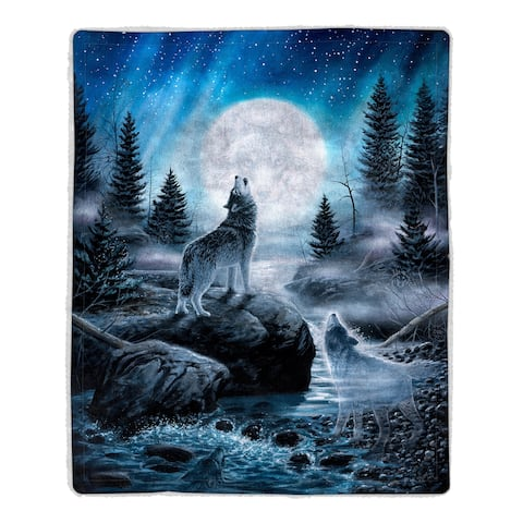 Sherpa Fleece Throw Blanket- Howling Wolf Pattern, Lightweight Hypoallergenic Bed or Couch Soft Plush Blanket by Windsor Home