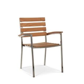 AL Fresco Natural Teak Patio Dining Armchair (Set of 2)