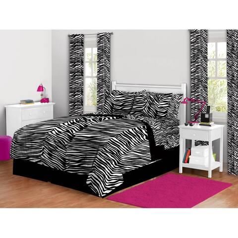 Zebra Print Bed in a Bag Bedding Set